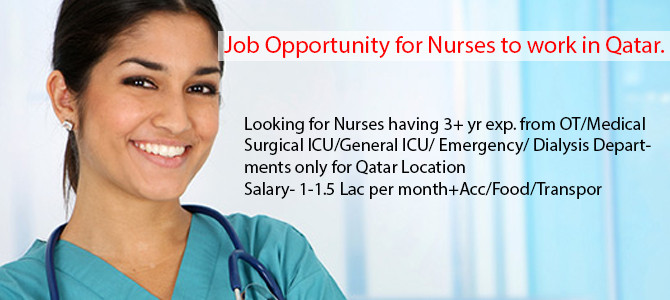 Job Opportunity for Nurses to work in Qatar.