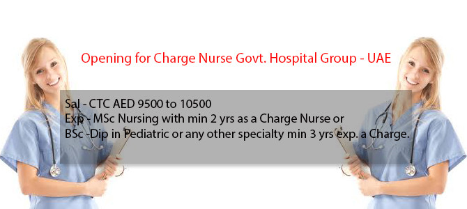 Opening for Charge Nurse Govt. Hospital Group – UAE