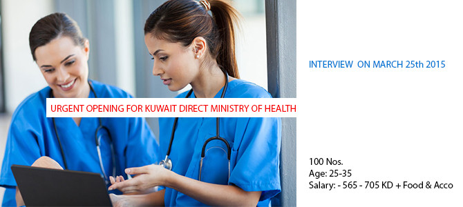URGENT OPENING FOR KUWAIT DIRECT MINISTRY OF HEALTH