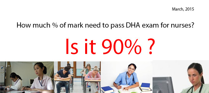 How much % of mark need to pass DHA exam for nurses?