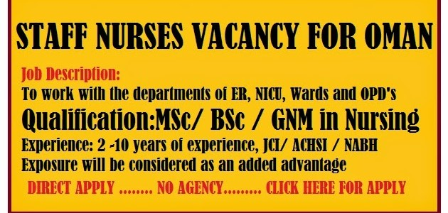 NURSES JOB VACANCY FOR OMAN