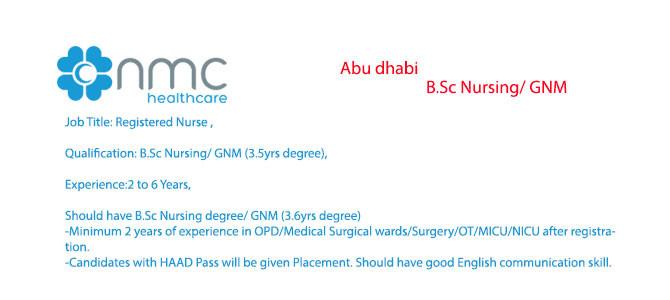 B.Sc Nursing/ GNM in abu dhabi