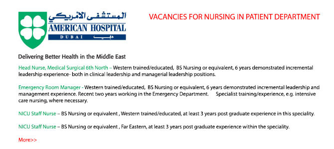 VACANCIES FOR NURSING IN PATIENT DEPARTMENT