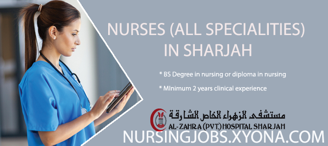 NURSES (ALL SPECIALITIES) IN SHARJAH