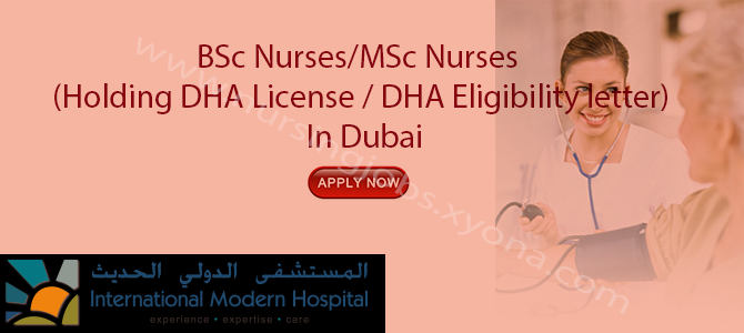BSc Nurses/MSc Nurses (Holding DHA License / DHA Eligibility letter) In Dubai