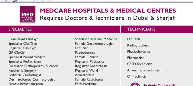 Medcare is hiring from India for its units in Dubai.