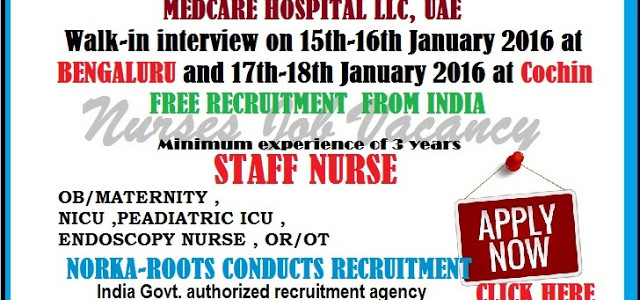 NORKA-ROOTS CONDUCTS RECRUITMENT OF NURSES FOR THE FOLLOWING VACANCIES(Only Indians)