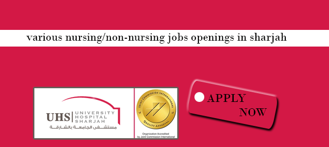 various nursing/non-nursing jobs openings in sharjah