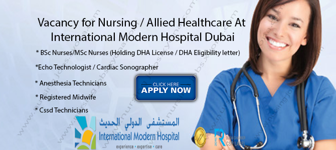 Vacancy for Nursing / Allied Healthcare At International Modern Hospital, Dubai