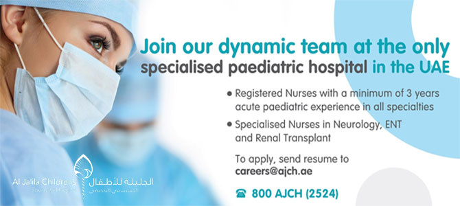 Pediatric Nurse at Al Jalila Children's Specialty Hospital, Dubai, United Arab Emirates