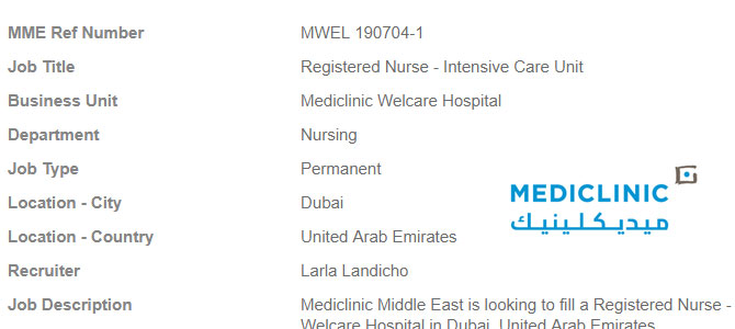 vacancy  for Registered Nurse – Intensive Care Unit- Dubai