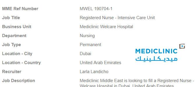 vacancy  for Registered Nurse – Intensive Care Unit- Dubai
